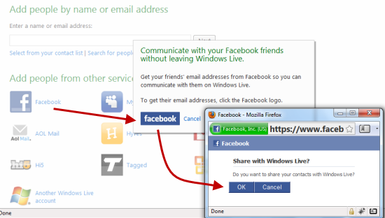 Export facebook contacts to hotmail