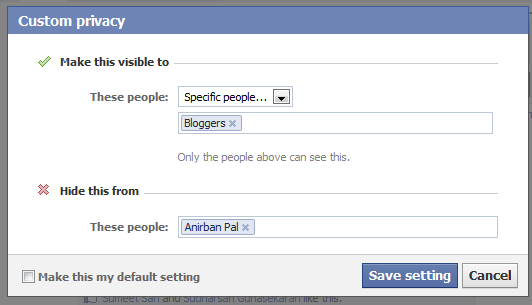 Facebook Status Update Privacy Settings