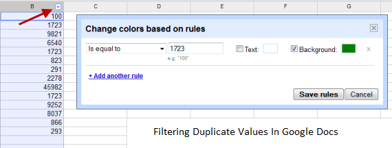 Remove Duplicate values from a Google Docs spreadsheet