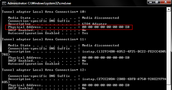 Find MAC address of your computer