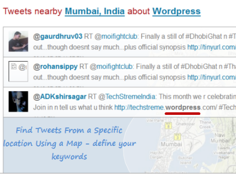 Find Tweets from a City with matching keywords
