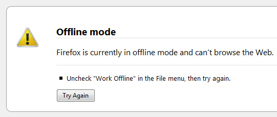 How to turn off Firefox offline mode forever