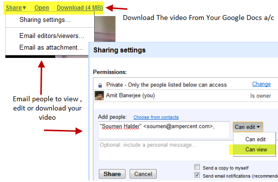 Google Docs Video Sharing Settings
