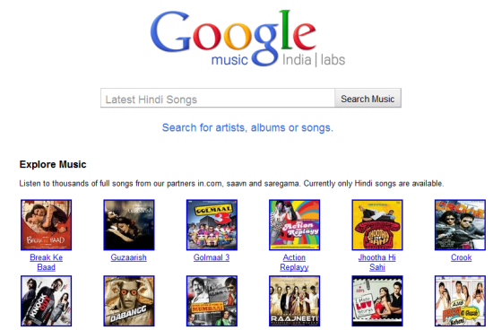 LIsten to bollywood songs Through Google Music