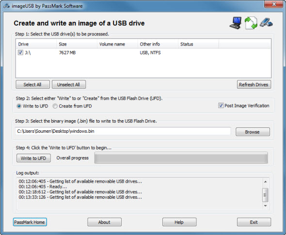 burn image to usb