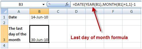 Last dau of month in Excel