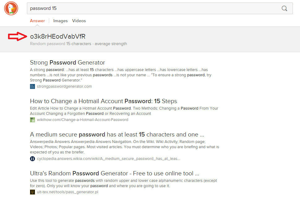 random password generator DuckDuckGo