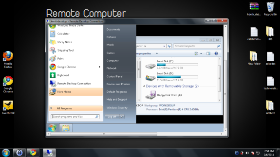 Example of a remote computer and host computer connection in Windows7