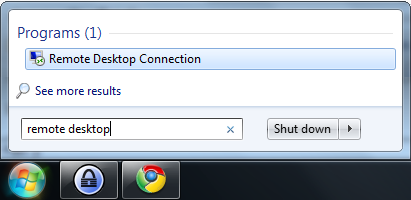 Start remote connection Windows7