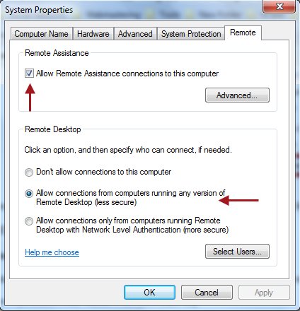 remote desktop settings windows7