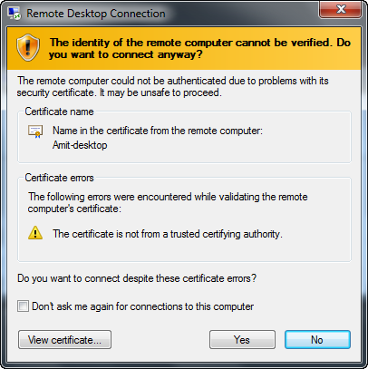 remote desktop warning message in windows7 - identity detection