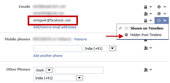 Remove Email address from Facebook
