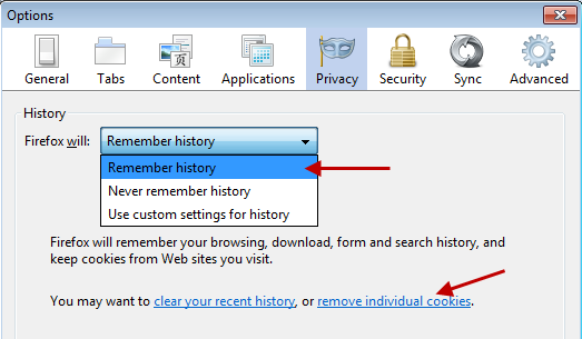 Remove cookies from Firefox