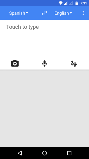 select language and hit camera button