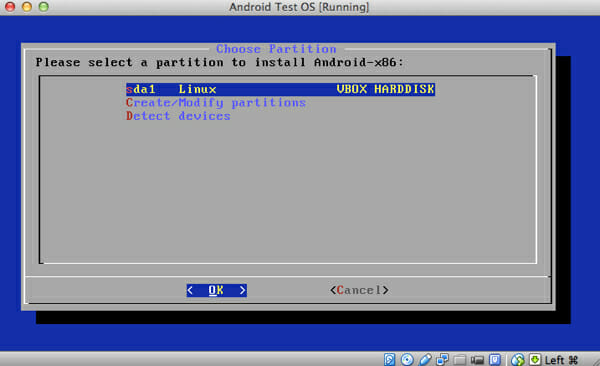select_partition_install android os on pc, mac or linux