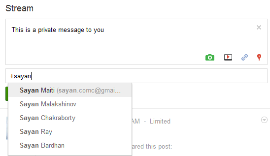 send direct messages to Google plus friends