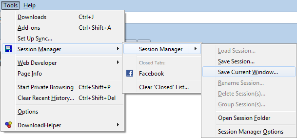 Session Manager in Firefox