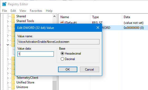 set dword value in windows 10 registry