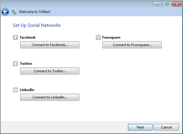 setup social networks - trillion - all in one chat messenger for pc