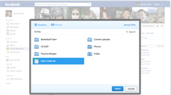 Share Dropbox files on Facebook