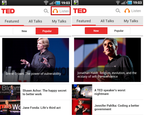 The working interface of TED Android app