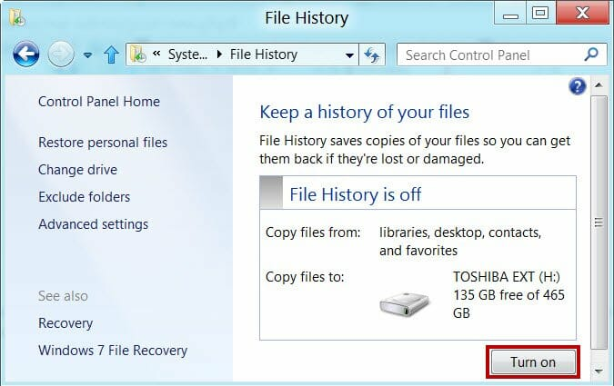 Turn on File history in Windows 8