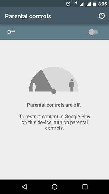 turn on parental control in google play