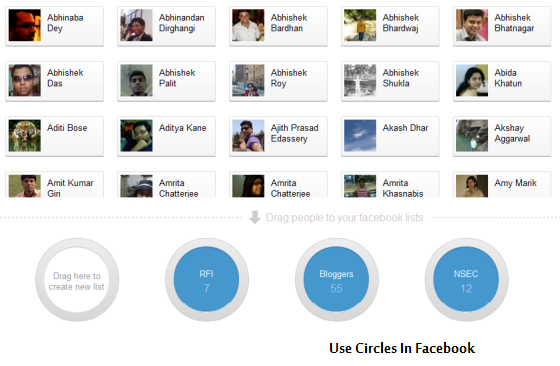 use Circles in Facebook