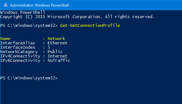 use powershell to Set Private Network in Windows 10