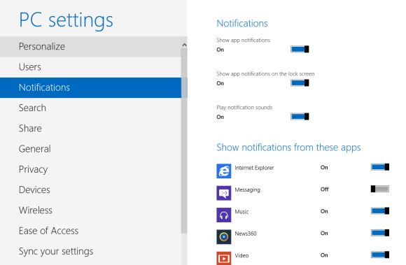 Configure windows8 notification settings